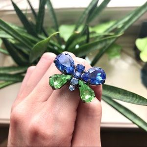 Blue & Green Butterfly Ring